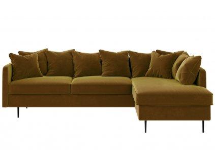 Medově žlutá sametová rohová pohovka Ghado Cobb 255 cm, pravá