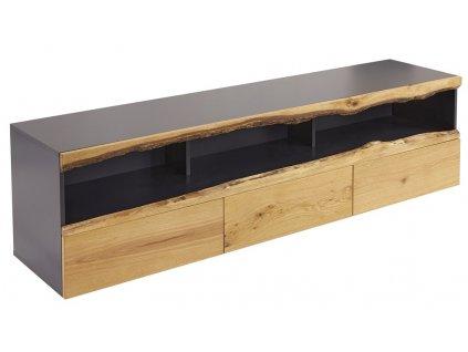Tmavě šedý dřevěný televizní stolek Feron 180 x 42 cm