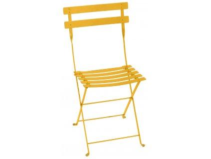 Žlutá kovová skládací židle Fermob Bistro Metal
