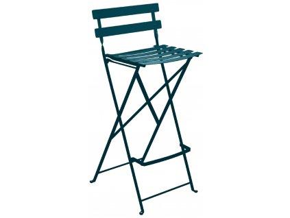 Petrolejová kovová skládací barová židle Fermob Bistro