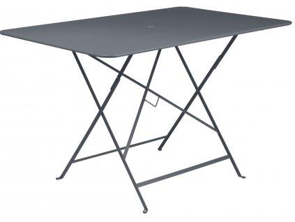 Antracitový kovový skládací stůl Fermob Bistro 117 x 77 cm
