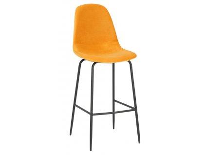 Hořčicově žlutá sametová barová židle Daria 108 cm