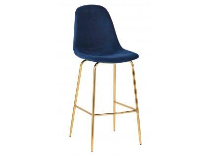 Modrá sametová barová židle Daria 108 cm