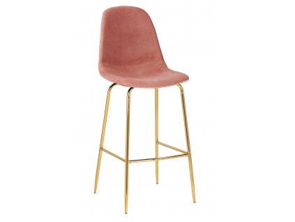 Růžová sametová barová židle Daria 108 cm