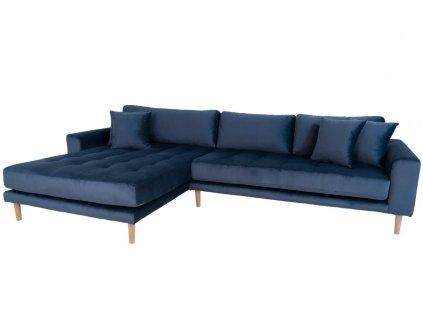 Modrá sametová rohová pohovka Nordic Living Limo 290 cm, levá