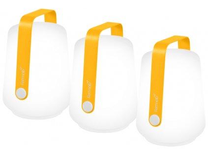 Set tří žlutých venkovních lamp Fermob Balad