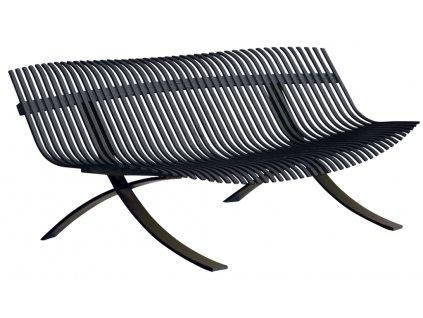 Antracitová kovová lavice Fermob Charivari