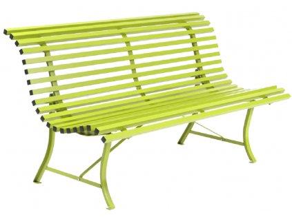Světle zelená kovová lavice Fermob Louisiane 150 cm