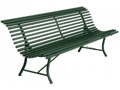 Tmavě zelená kovová lavice Fermob Louisiane 200 cm