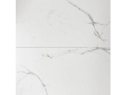 Bílý dřevěný rozkládací jídelní stůl LaForma Theone s mramorovým dekorem 160-210 x 90 cm
