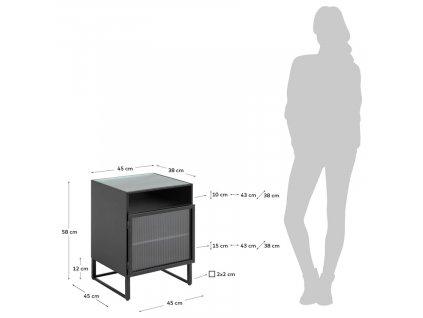 Černý kovový noční stolek LaForma Trixie 45 x 41 cm
