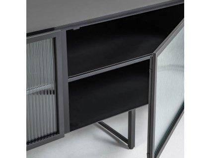 Černý kovový TV stolek LaForma Trixie 180 x 41 cm
