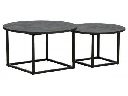 Set dvou černých konferenčních stolků Horace 74/60 cm