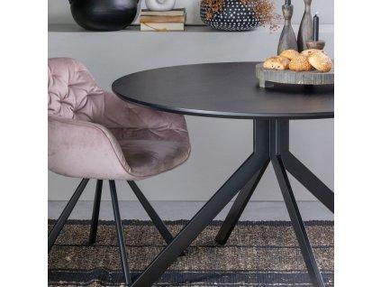 Světle růžová sametová židle Herian