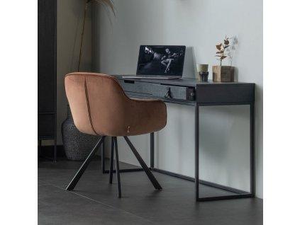 Malinově červená sametová jídelní židle Herian