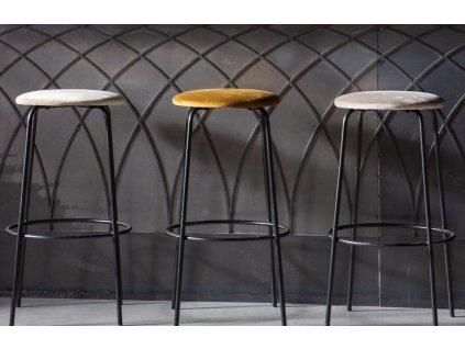 Šedozelená sametová barová stolička Moline 76 cm