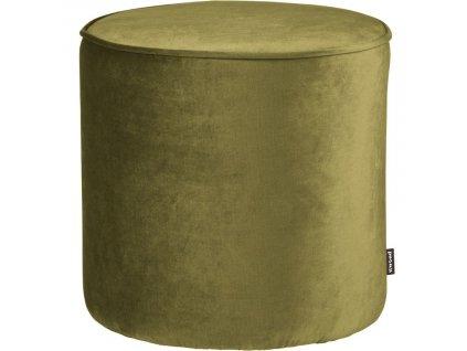 Vojensky zelený sametový taburet Norma M