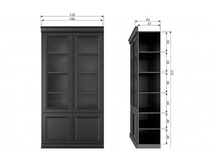 Černá borovicová vitrína Abia 110 x 44 cm