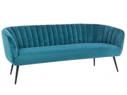 Modrá sametová trojmístná pohovka Bizzotto Avril 178 cm