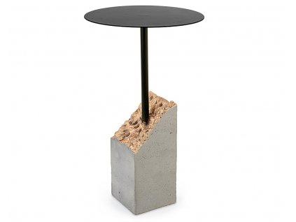 Černý odkládací stolek Bizzotto Piedras s cementovou podnoží