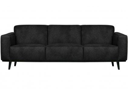 Černá koženková třímístná pohovka Twilight 230 cm