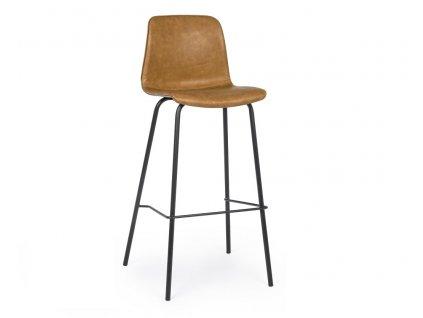 Hnědá koženková barová židle Bizzotto Kyra 103,5 cm