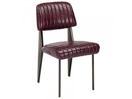 Vínová kožená jídelní židle Bizzotto Nelly