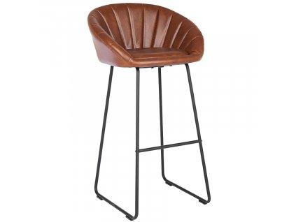 Hnědá kožená barová židle Bizzotto Jacky 98 cm