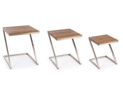 Set 3 akátových konferenčních stolků Bizzotto Osbert 45/40/35 cm