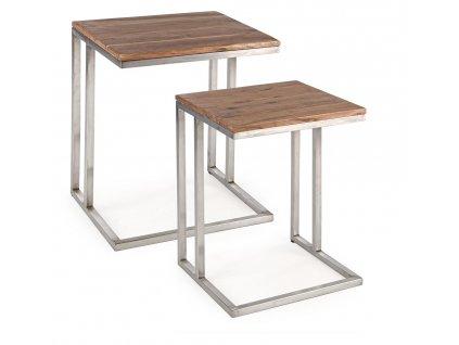 Set dvou akátových konferenčních stolků Bizzotto Osbert 43/38 cm