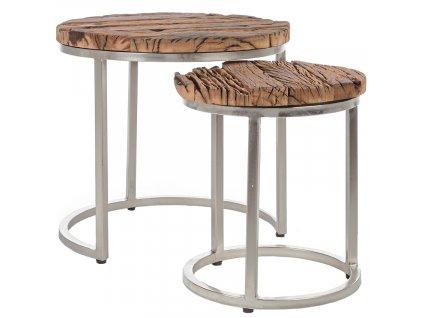 Set dvou kulatých konferenčních stolků Bizzotto Rafter 52/36 cm