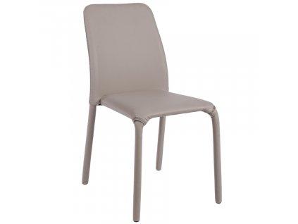 Béžovo šedá koženková jídelní židle Bizzotto Patos