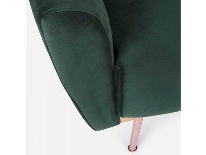 Tmavě zelená sametová trojmístná rozkládací pohovka Bizzotto Johnny 210 cm