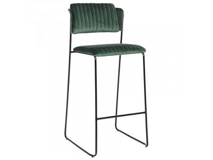 Zelená sametová barová židle Bizzotto Beatrice 106 cm
