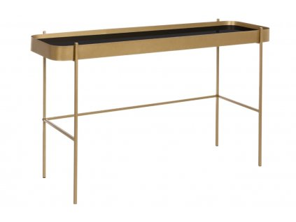 Zlatý kovový toaletní stolek Bizzotto Rashida se skleněnou deskou