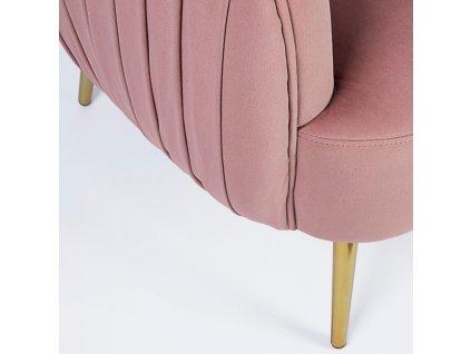 Růžová sametová dvoumístná pohovka Bizzotto Linsay 129 cm