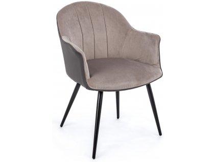 Světle šedá sametová jídelní židle Bizzotto Marie s područkami