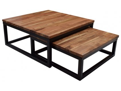 Set dvou masivních akátových konferenčních stolků Kendra 75/65 cm