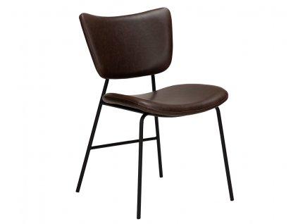 Tmavě hnědá koženková jídelní židle DanForm Thrill
