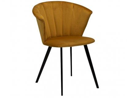 Žlutá sametová jídelní židle DanForm Merge