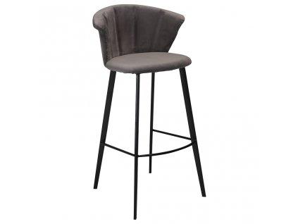 Šedá sametová barová židle DanForm Merge 100 cm