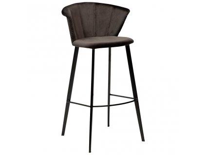 Černá sametová barová židle DanForm Merge 100 cm