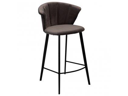 Šedá sametová barová židle DanForm Merge 90 cm