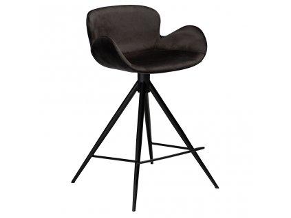 Černá sametová barová židle DanForm Gaia 87 cm