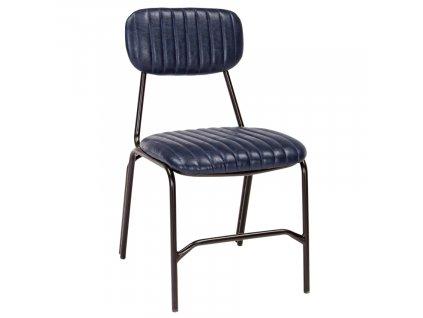 Modrá koženková jídelní židle Bizzotto Debbie