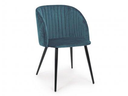Modrá sametová jídelní židle Bizzotto Queen