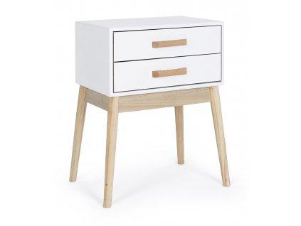Bílý dřevěný noční stolek Bizzotto Ordinary 43x30 cm
