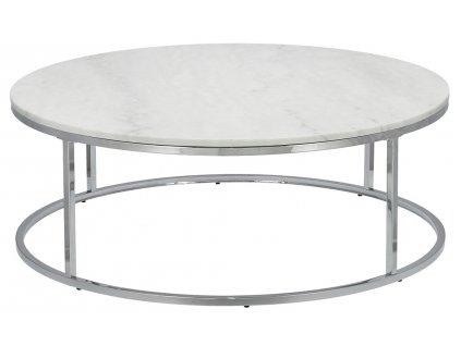 Bílý mramorový konferenční stolek RGE Accent se stříbrnou podnoží Ø 110 cm