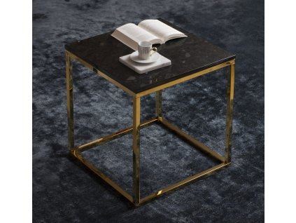 Černý žulový konferenční stolek RGE Accent se zlatou podnoží 50 cm