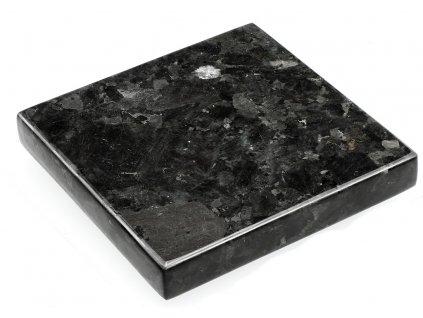 Černý kamenný servírovací podnos RGE Décor 15 x 15 cm